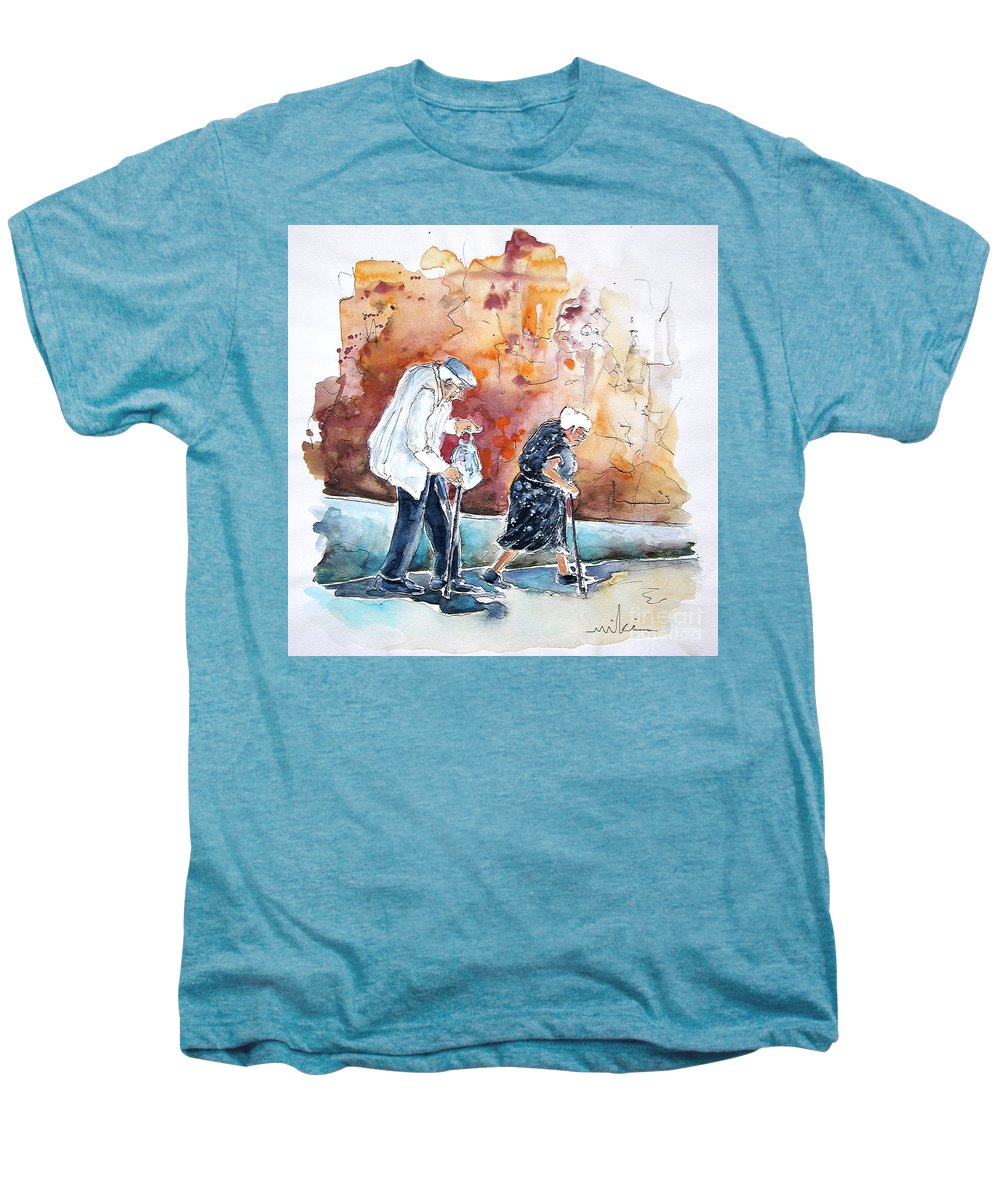 Portugal Paintings Men's Premium T-Shirt featuring the painting Together Old In Portugal 01 by Miki De Goodaboom