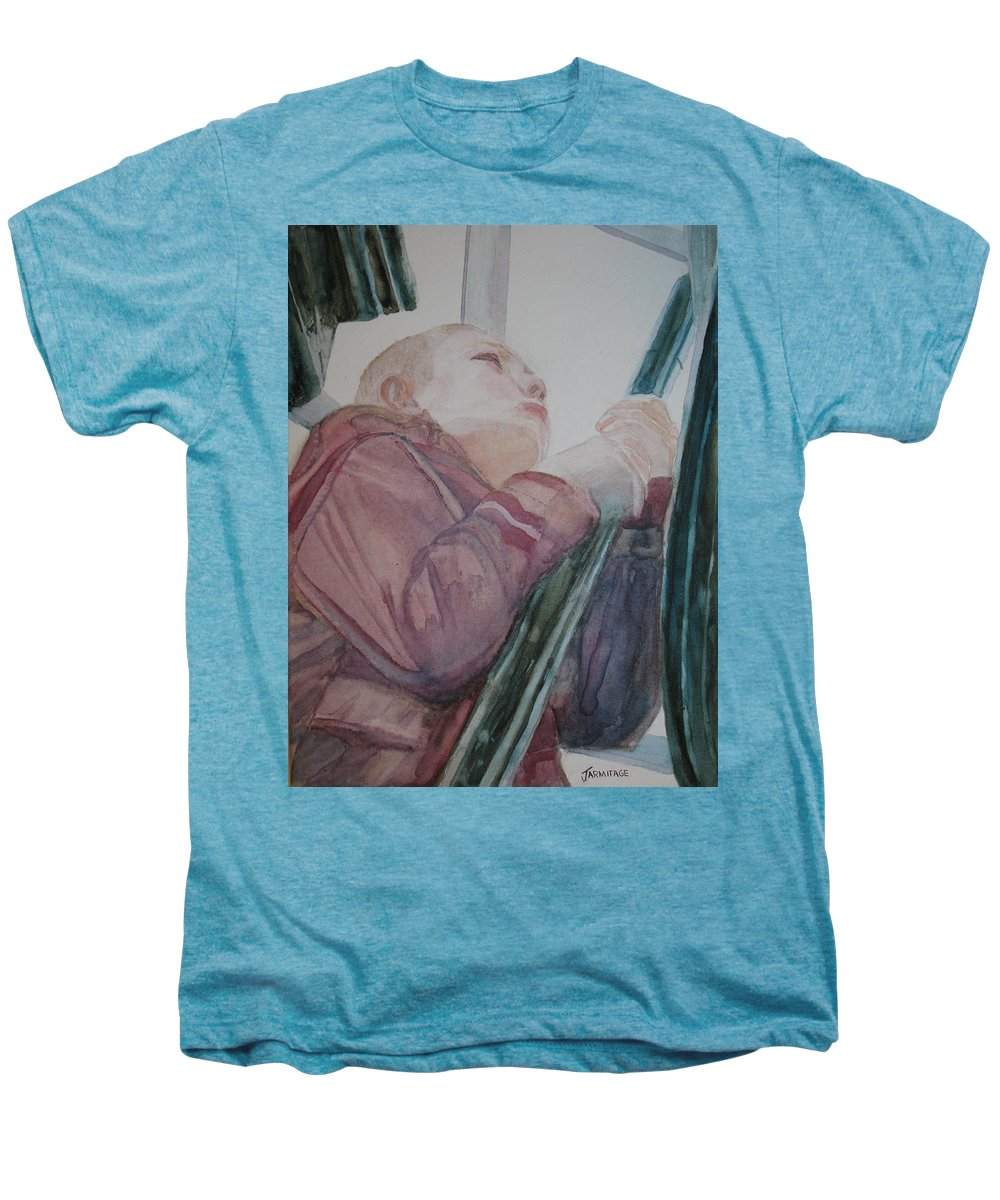 Boy Men's Premium T-Shirt featuring the painting Top Of The Lighthouse Stairs by Jenny Armitage