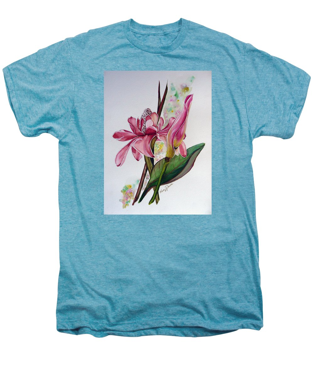 Flower Painting Floral Painting Botanical Painting Flowering Ginger. Men's Premium T-Shirt featuring the painting Torch Ginger Lily by Karin Dawn Kelshall- Best