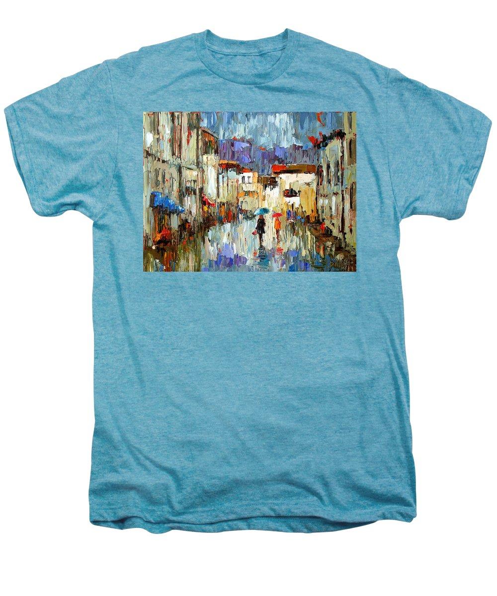 Landscape Men's Premium T-Shirt featuring the painting Tourists by Debra Hurd