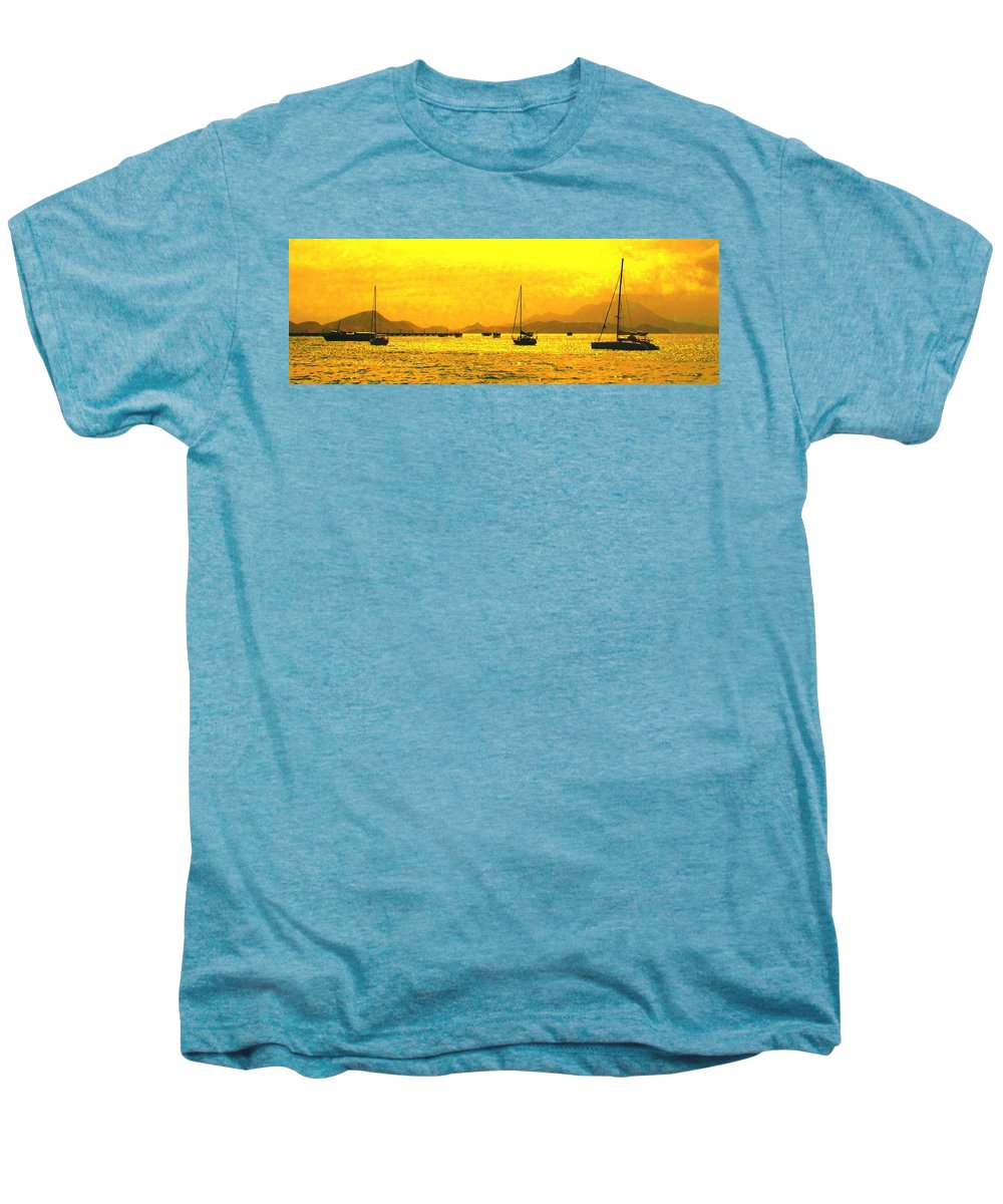 Basseterre Men's Premium T-Shirt featuring the photograph Towards Nevis by Ian MacDonald