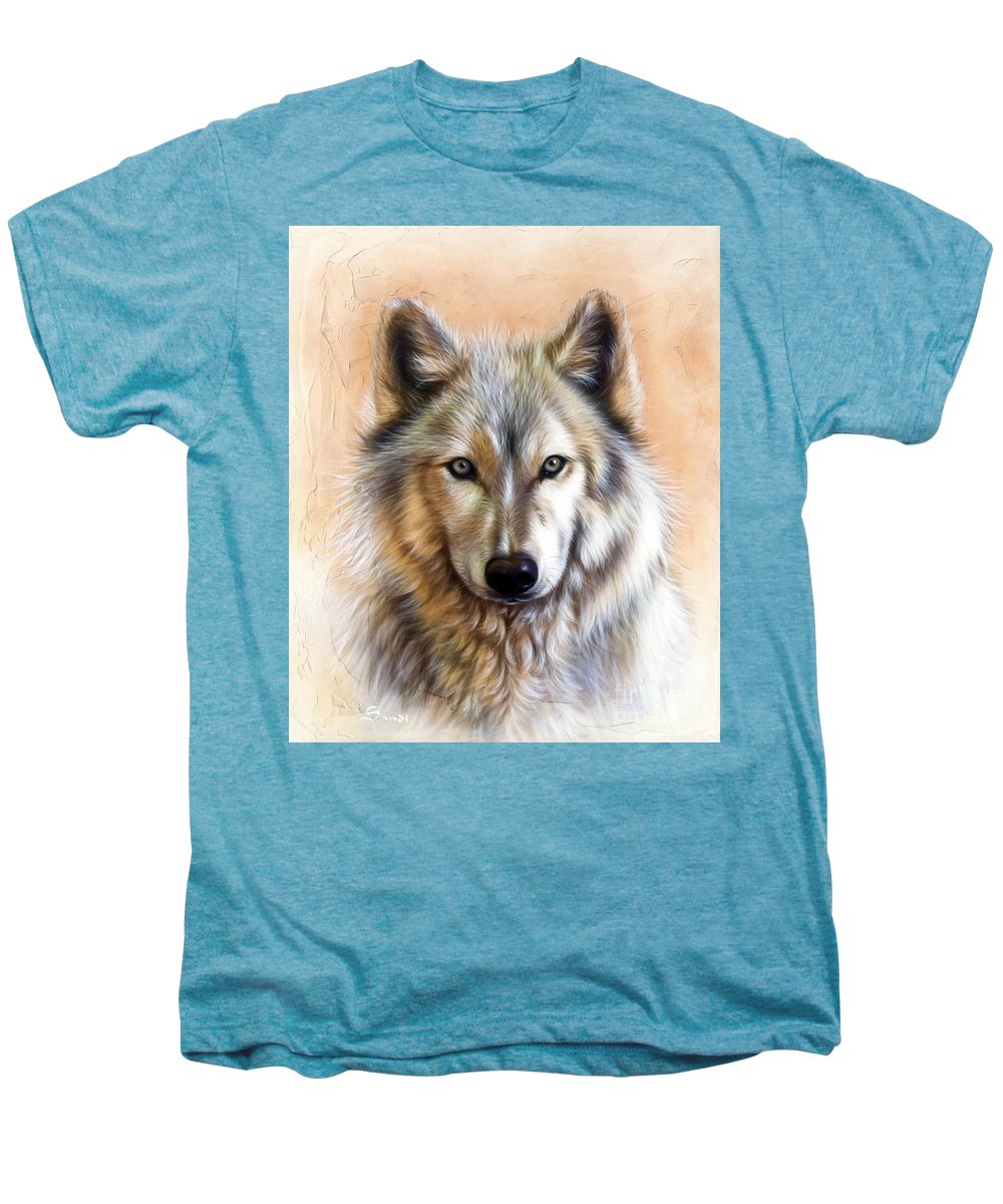 Wolves Men's Premium T-Shirt featuring the painting Trace Two by Sandi Baker
