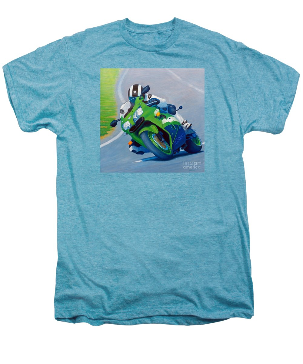 Motorcycle Men's Premium T-Shirt featuring the painting Track Day - Kawasaki Zx9 by Brian Commerford