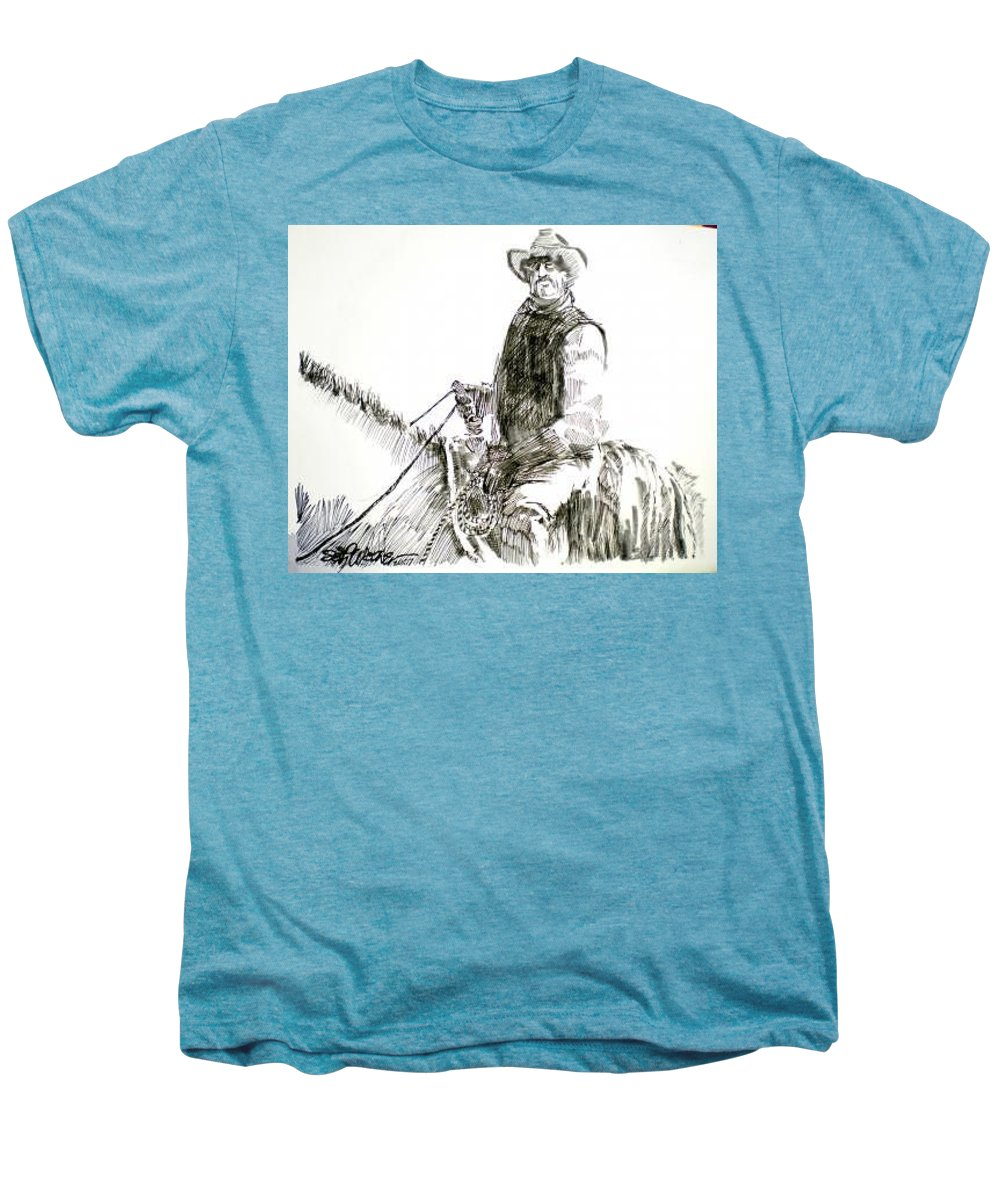 Trail Boss Men's Premium T-Shirt featuring the drawing Trail Boss by Seth Weaver