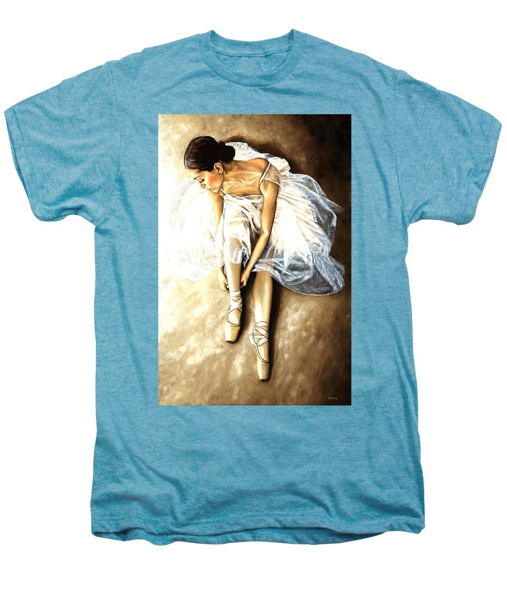 Ballet Men's Premium T-Shirt featuring the painting Tranquil Preparation by Richard Young