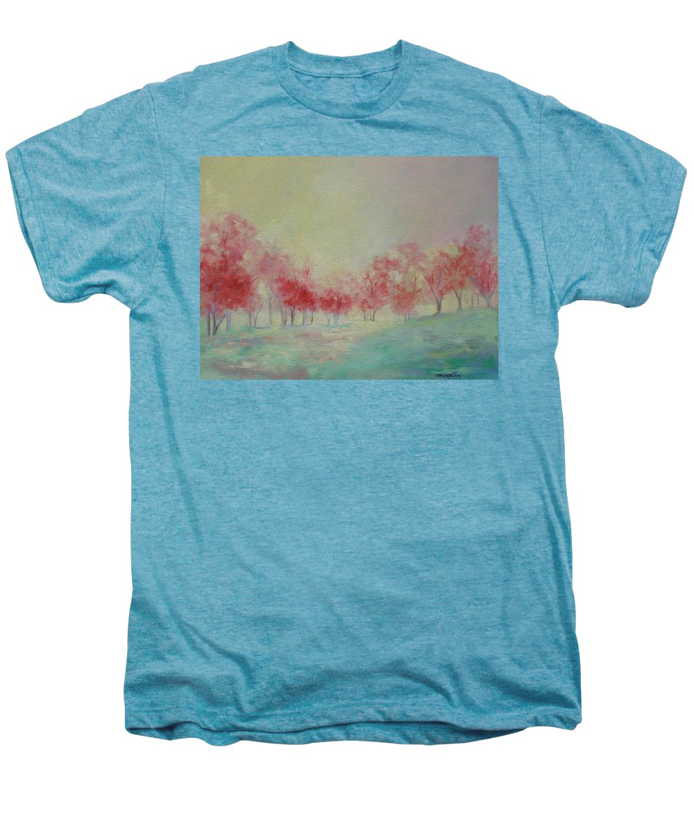 Impressionist Trees Men's Premium T-Shirt featuring the painting Treeline by Ginger Concepcion