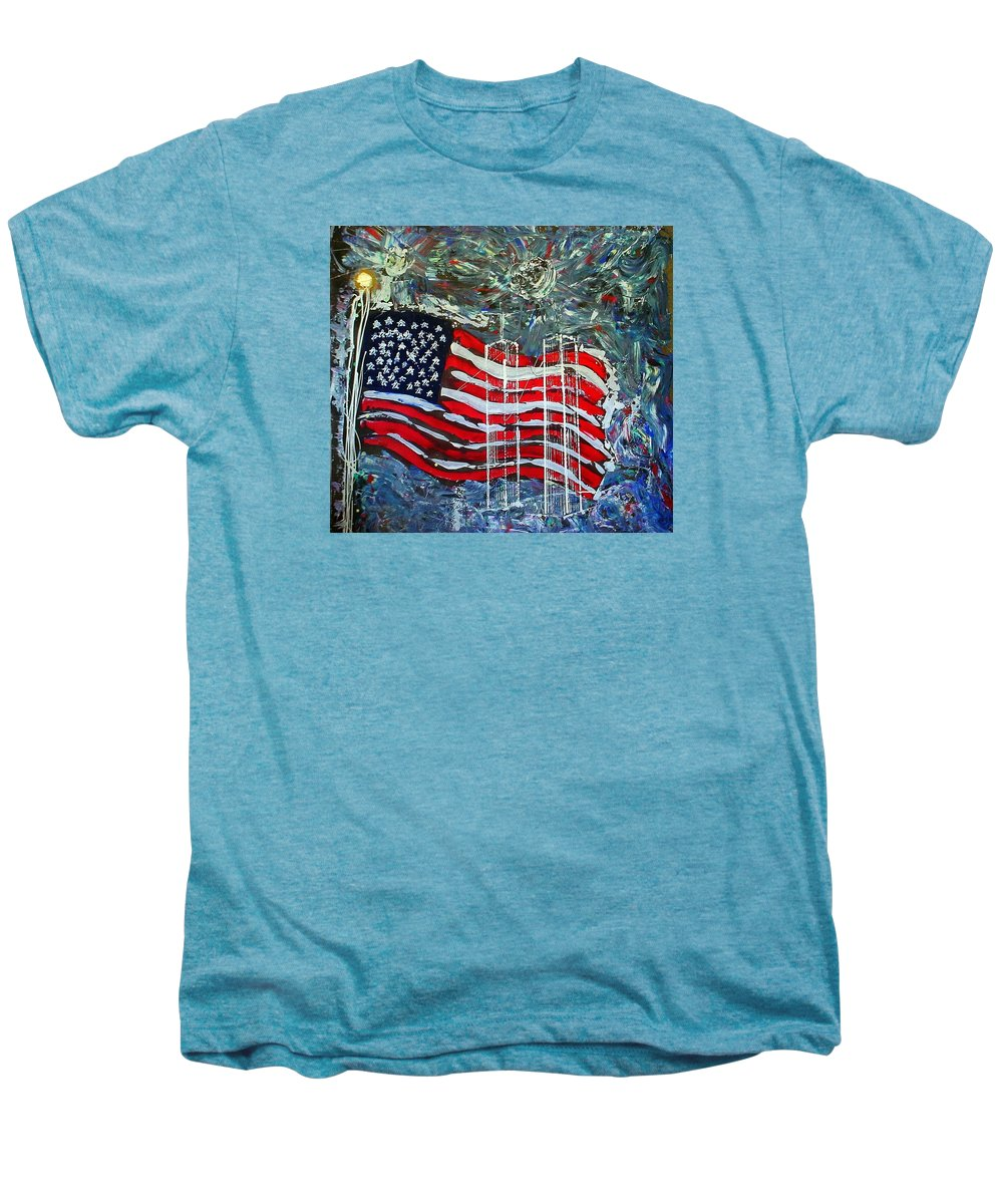 American Flag Men's Premium T-Shirt featuring the mixed media Tribute by J R Seymour