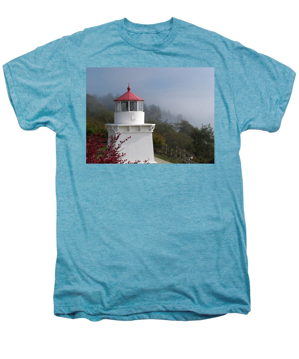 Lighthouse Men's Premium T-Shirt featuring the photograph Trinidad Head Lighthouse by Gale Cochran-Smith