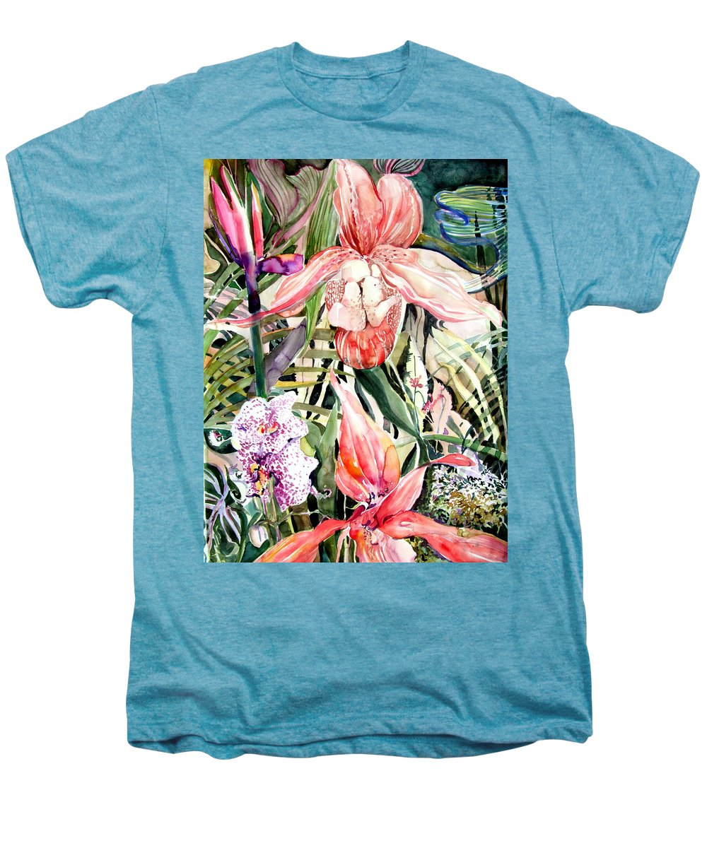 Watercolor Men's Premium T-Shirt featuring the painting Tropical Orchids by Mindy Newman