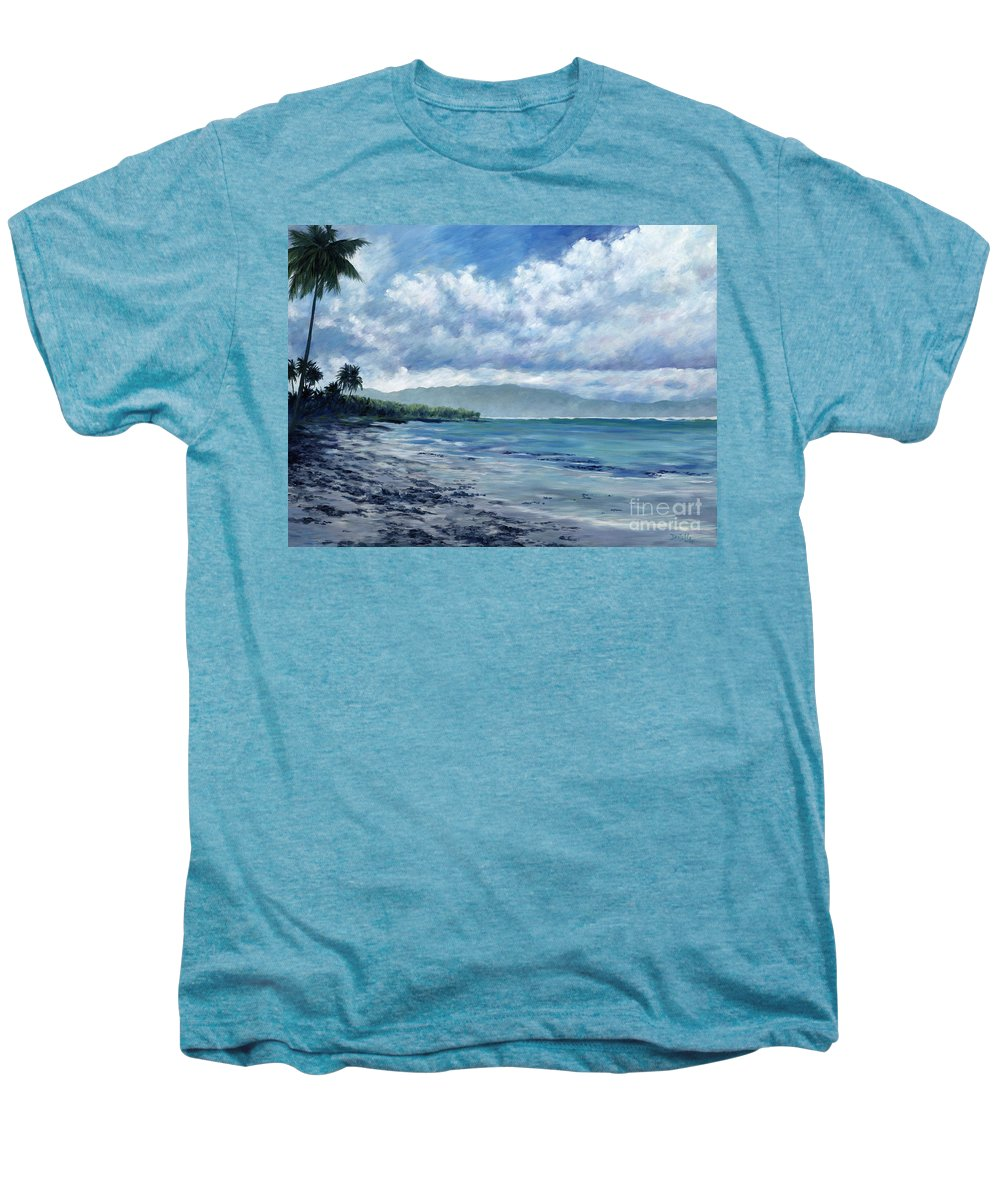 Seascape Men's Premium T-Shirt featuring the painting Tropical Rain by Danielle Perry