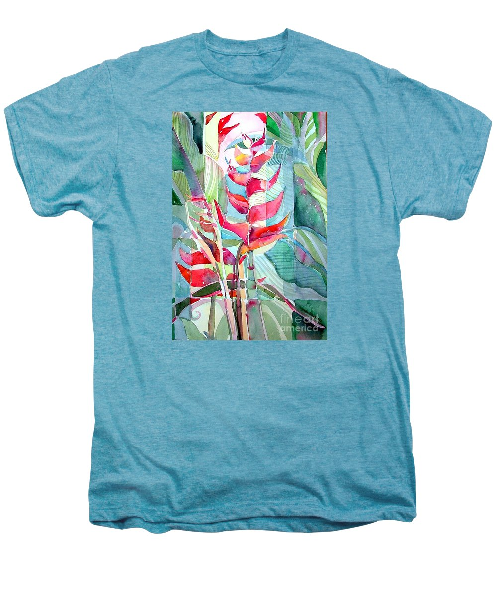 Landscape Men's Premium T-Shirt featuring the painting Tropicana Red by Mindy Newman