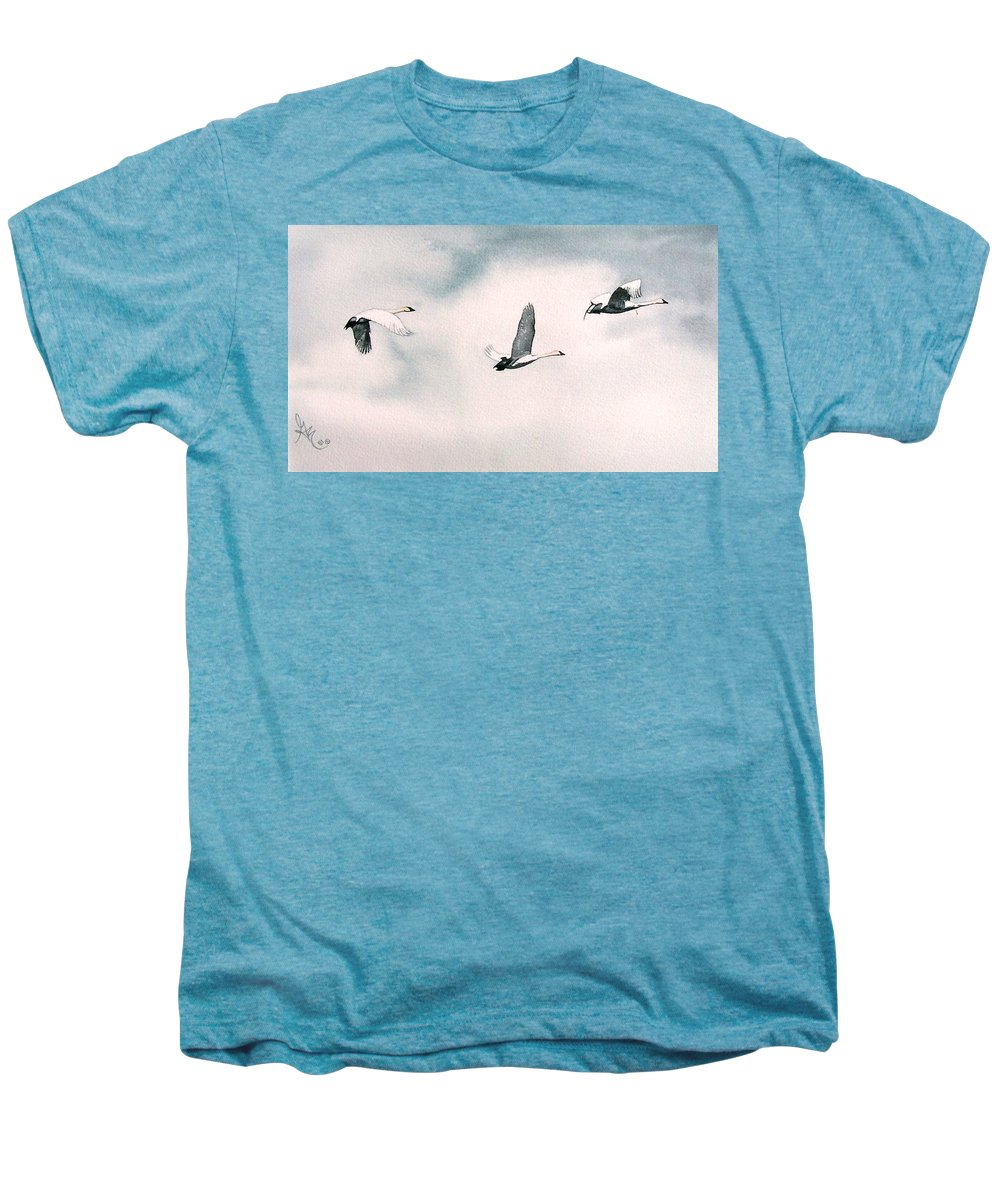 Swans Men's Premium T-Shirt featuring the painting Trumpeters by Gale Cochran-Smith