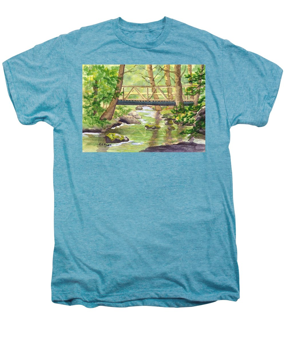 Stream Men's Premium T-Shirt featuring the painting Tuckers Brook by Sharon E Allen