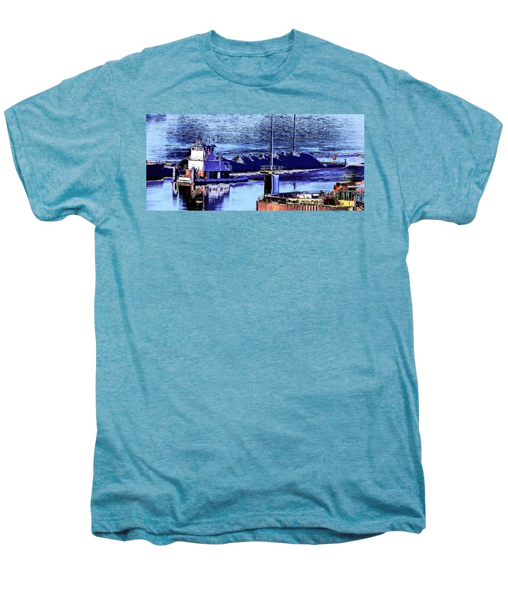 Abstract Men's Premium T-Shirt featuring the photograph Tug Reflections by Rachel Christine Nowicki