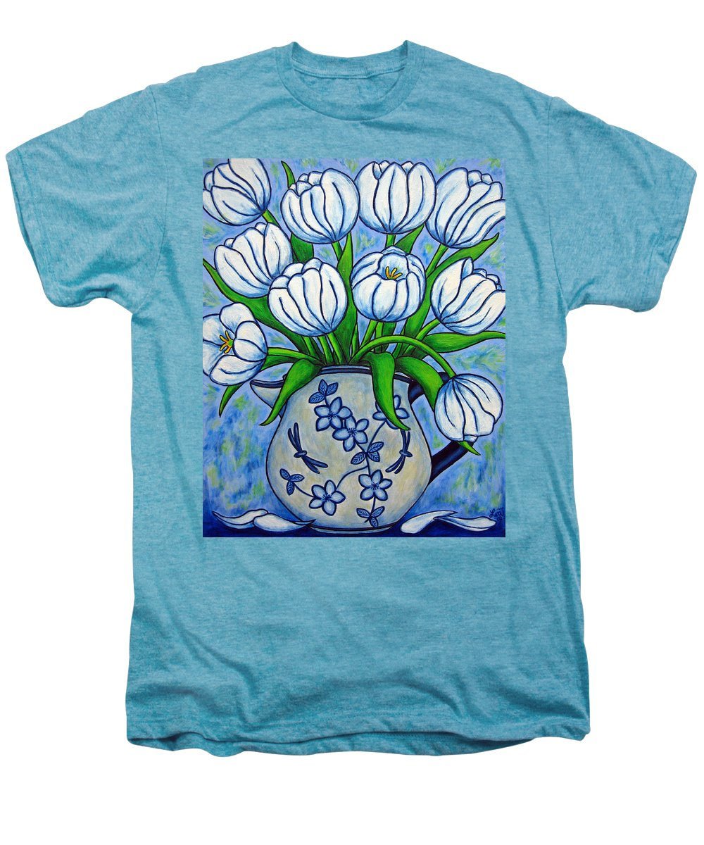 Flower Men's Premium T-Shirt featuring the painting Tulip Tranquility by Lisa Lorenz