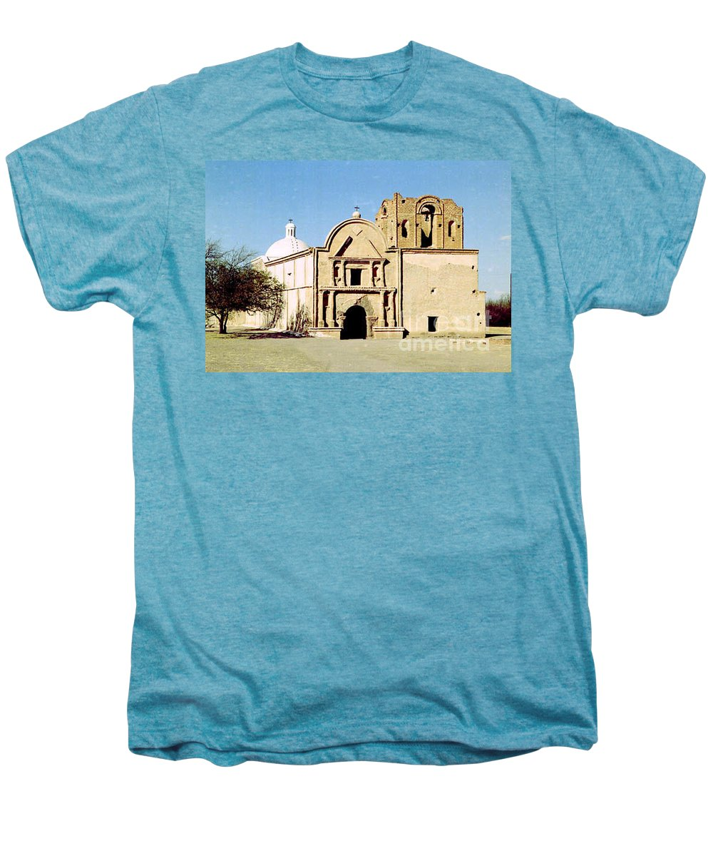 Mission Men's Premium T-Shirt featuring the photograph Tumacacori by Kathy McClure