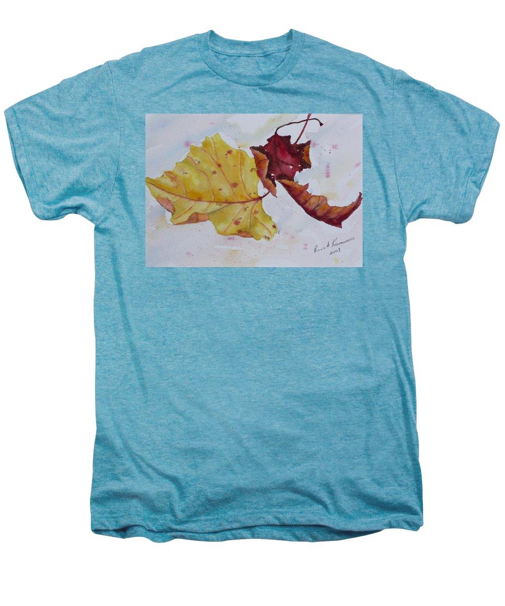 Fall Men's Premium T-Shirt featuring the painting Tumbling by Ruth Kamenev