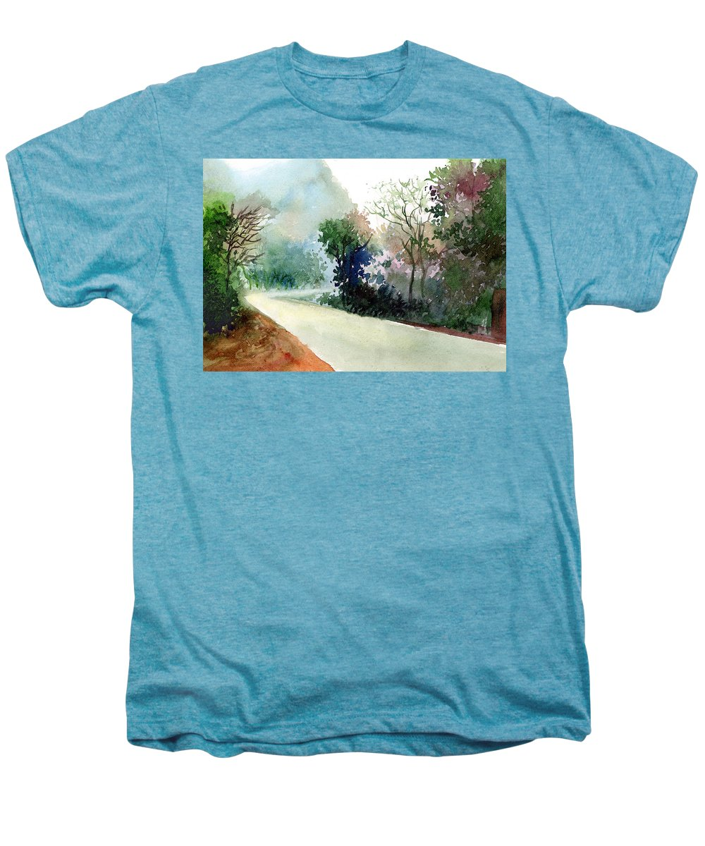 Landscape Water Color Nature Greenery Light Pathway Men's Premium T-Shirt featuring the painting Turn Right by Anil Nene