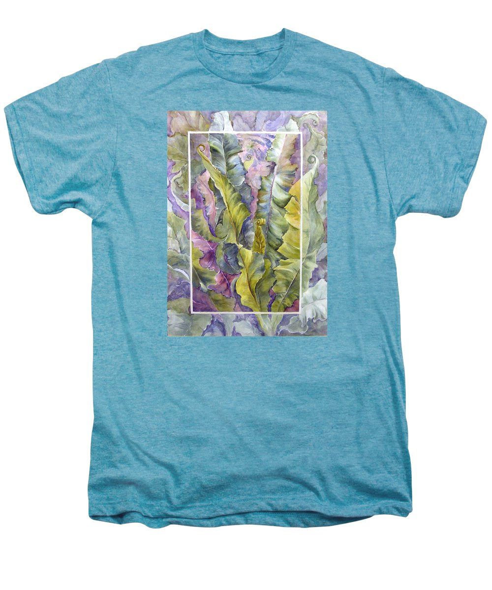 Ferns;floral; Men's Premium T-Shirt featuring the painting Turns Of Ferns by Lois Mountz