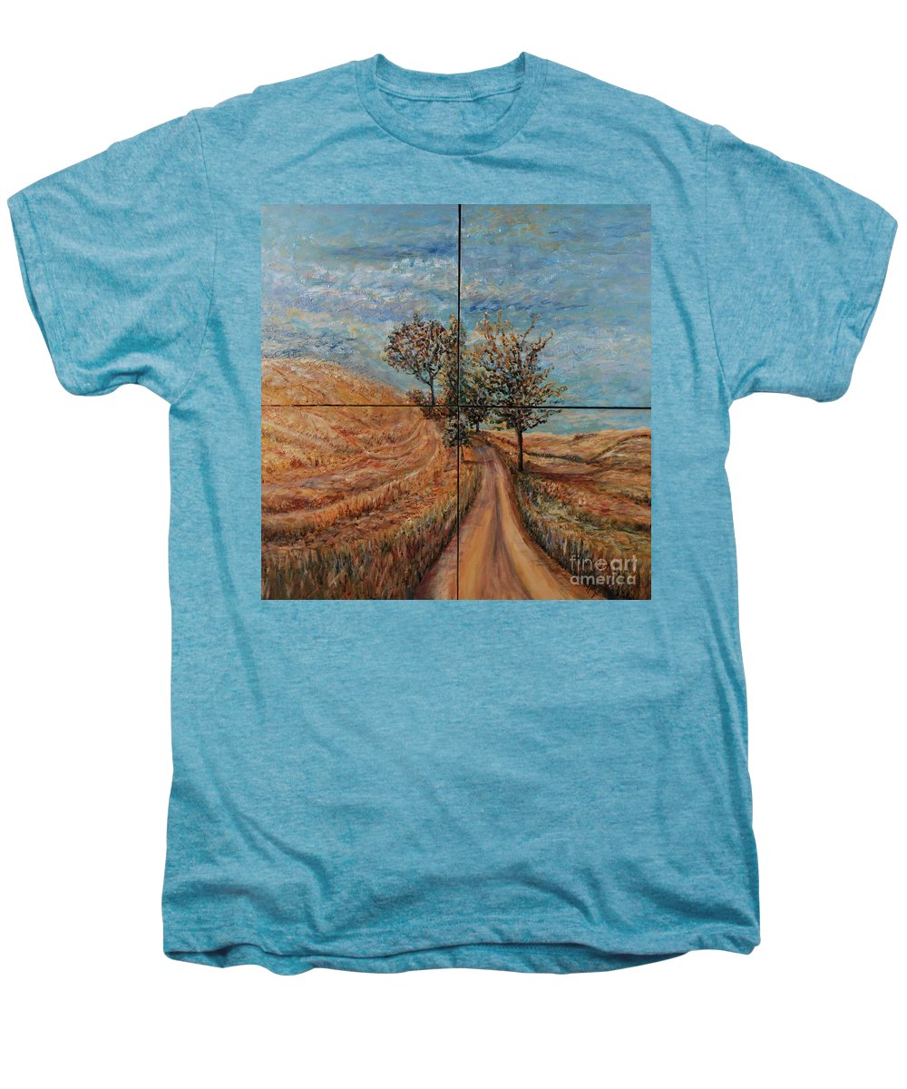 Landscape Men's Premium T-Shirt featuring the painting Tuscan Journey by Nadine Rippelmeyer