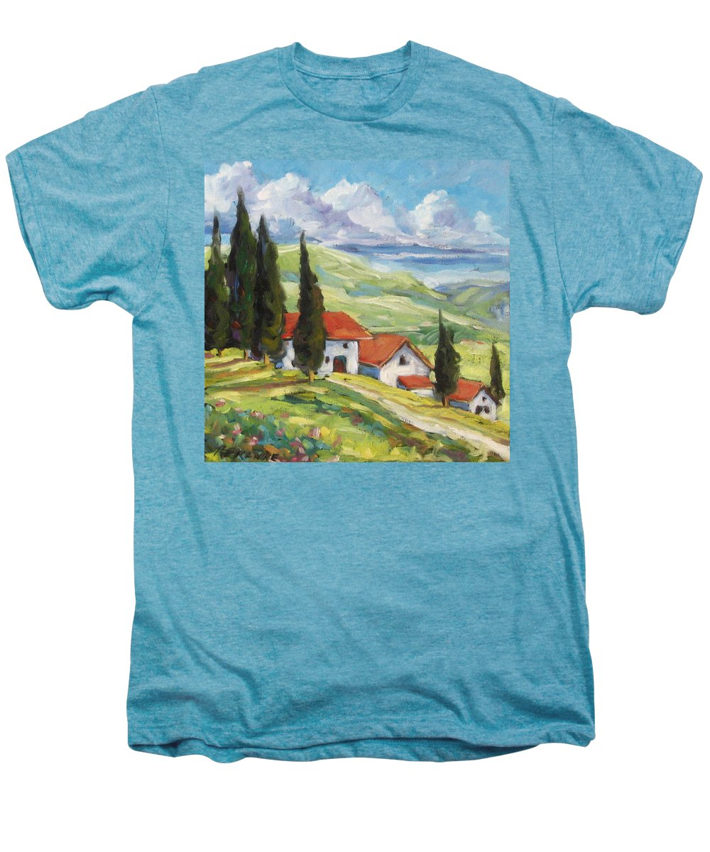 Tuscan Men's Premium T-Shirt featuring the painting Tuscan Villas by Richard T Pranke