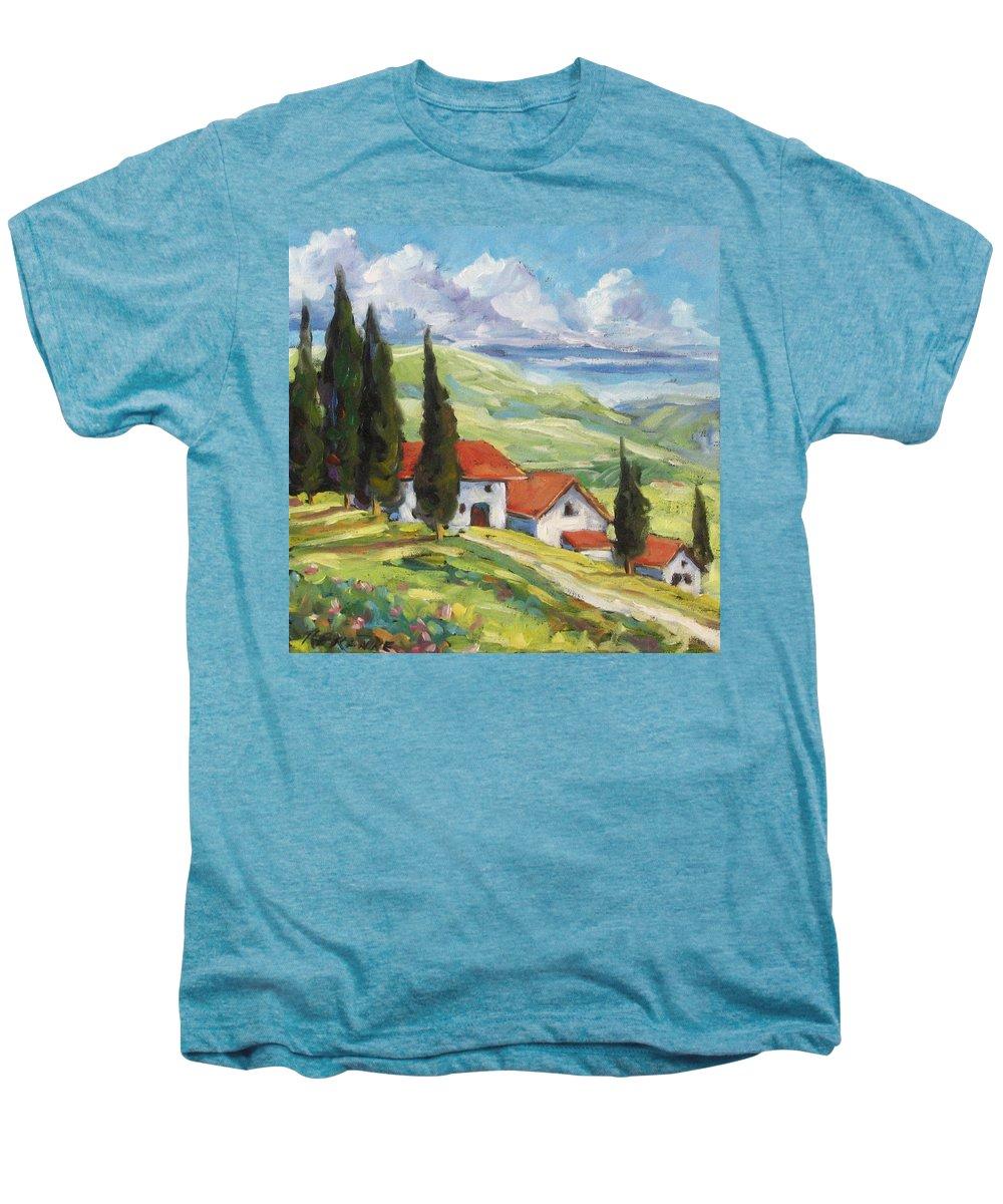 Tuscan Men's Premium T-Shirt featuring the painting Tuscan Villas by Richard T Pranke