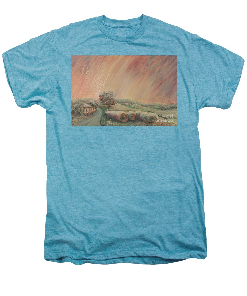 Landscape Men's Premium T-Shirt featuring the painting Tuscany Hayfields by Nadine Rippelmeyer