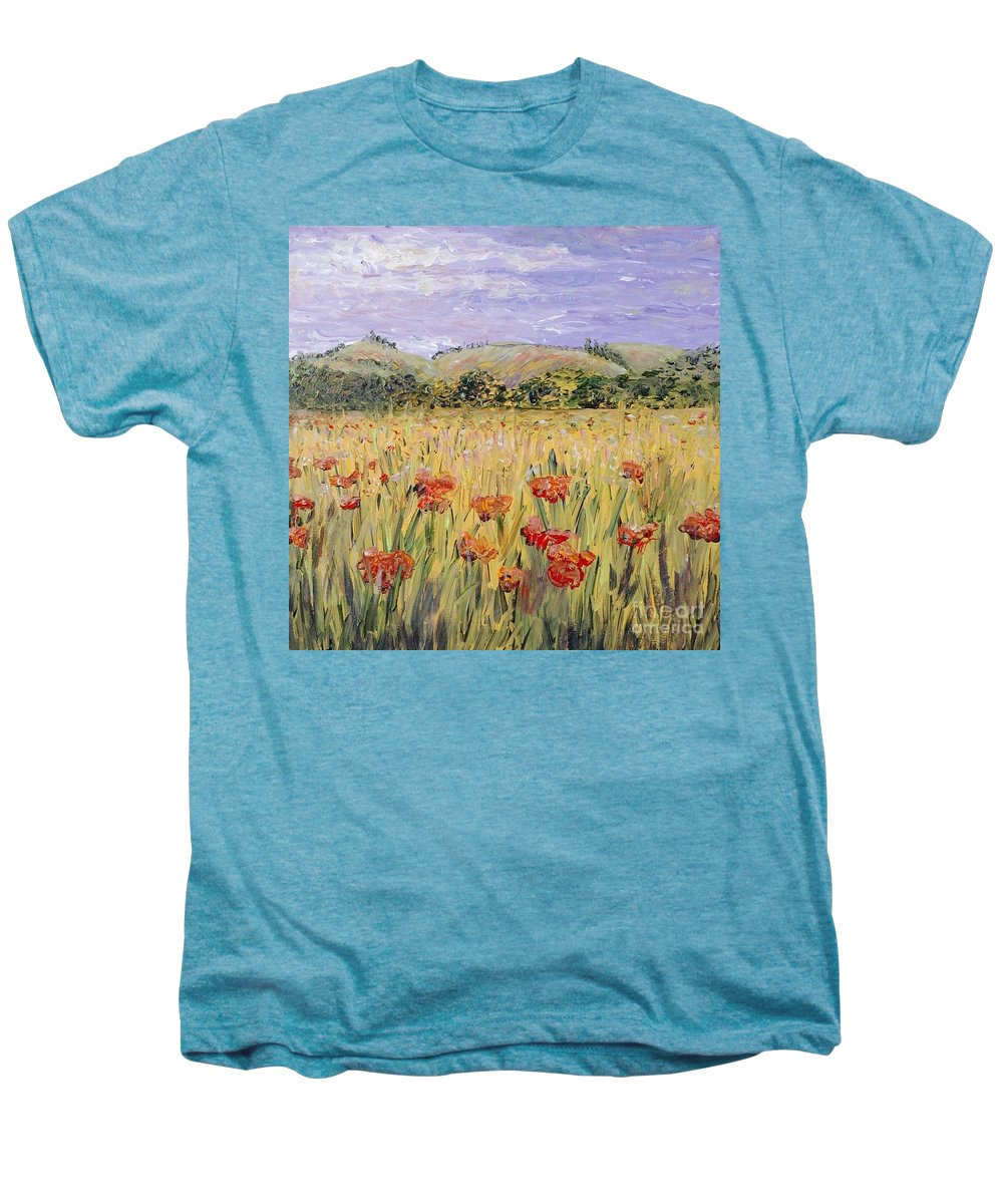 Poppies Men's Premium T-Shirt featuring the painting Tuscany Poppies by Nadine Rippelmeyer