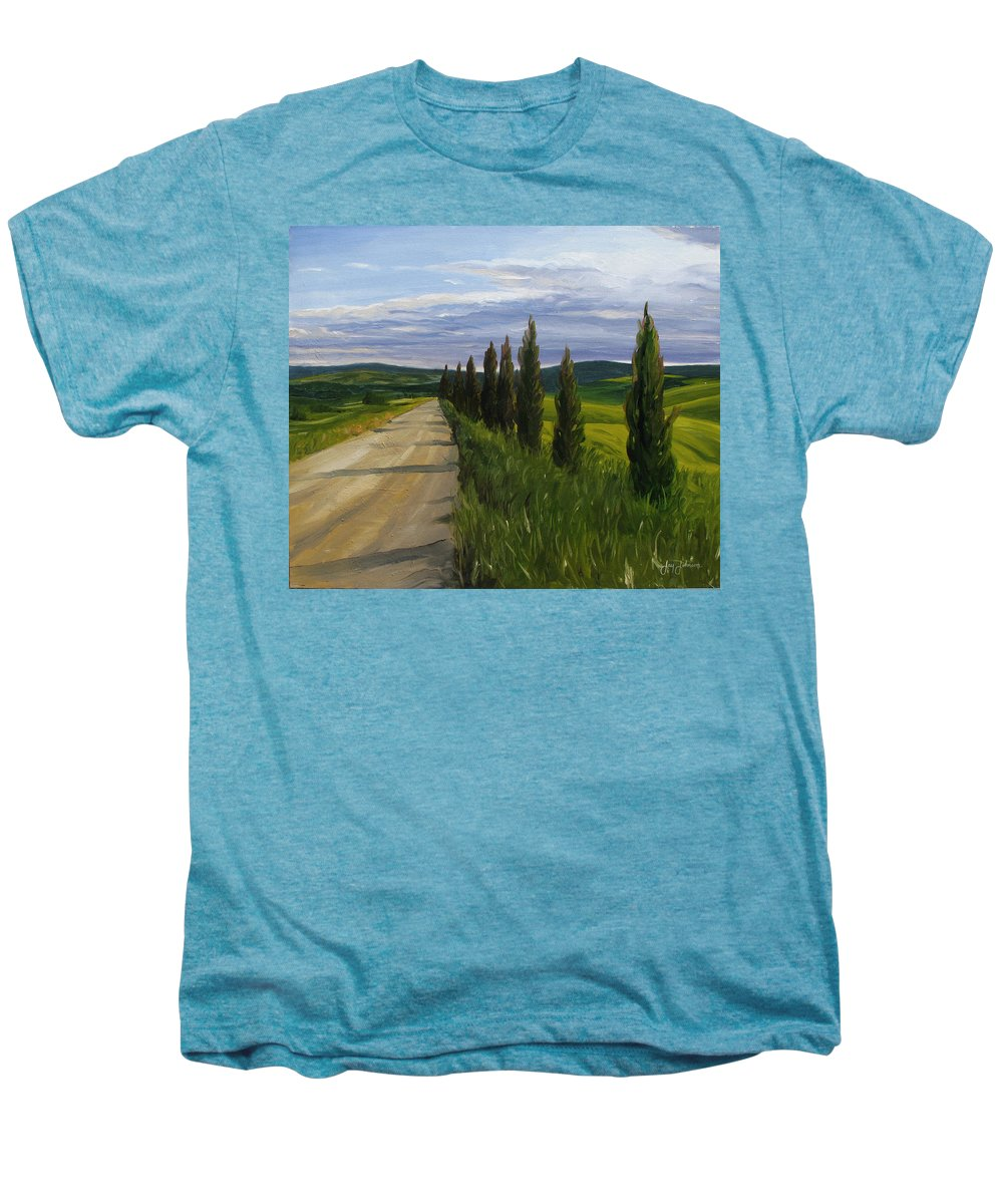 Men's Premium T-Shirt featuring the painting Tuscany Road by Jay Johnson