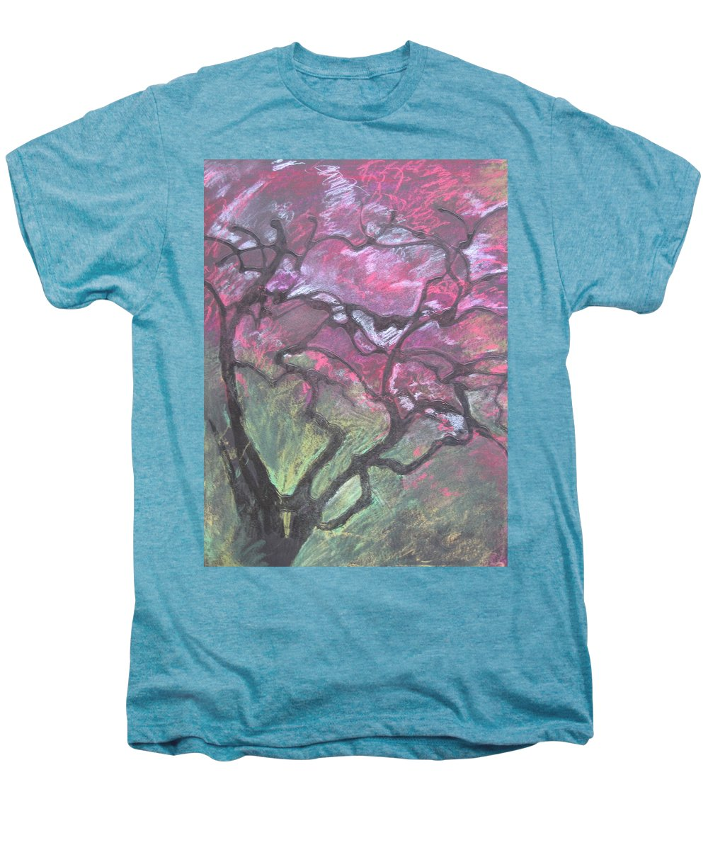 Pastel Men's Premium T-Shirt featuring the drawing Twisted Cherry by Leah Tomaino