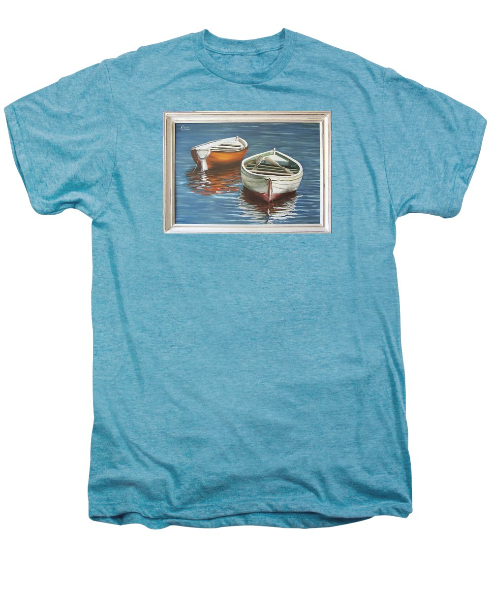Boats Reflection Seascape Water Boat Sea Ocean Men's Premium T-Shirt featuring the painting Two Boats by Natalia Tejera