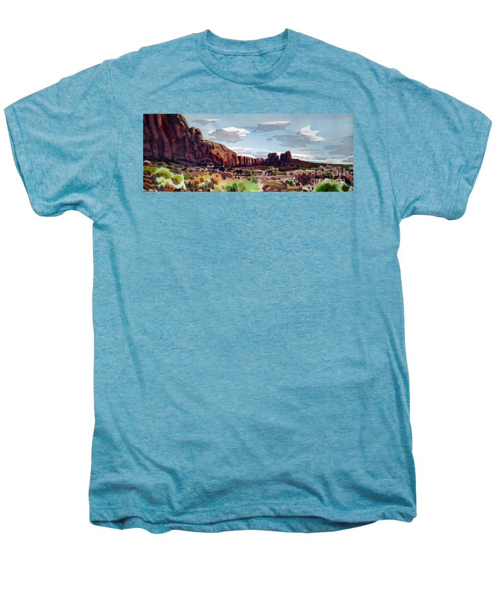 Horses Men's Premium T-Shirt featuring the painting Two Mustangs by Donald Maier