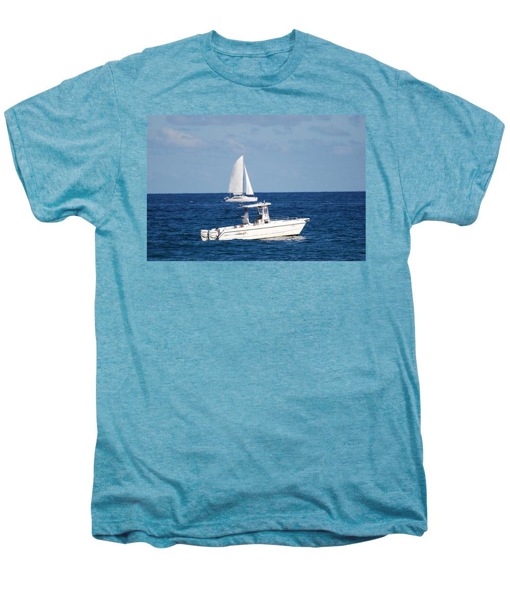 Sea Scape Men's Premium T-Shirt featuring the photograph Two Ships That Pass Thru The Day by Rob Hans