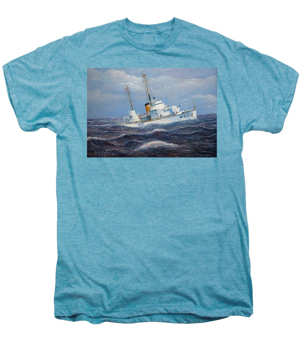 Marine Art Men's Premium T-Shirt featuring the painting U. S. Coast Guard Cutter Sebago Takes A Roll by William H RaVell III