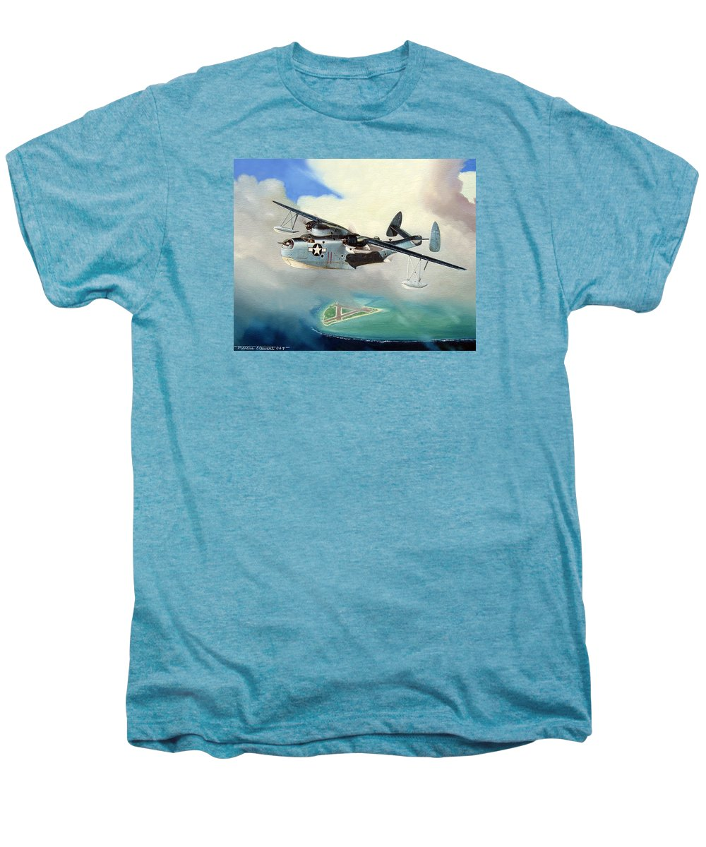 Military Men's Premium T-Shirt featuring the painting Uncle Bubba's Flying Boat by Marc Stewart