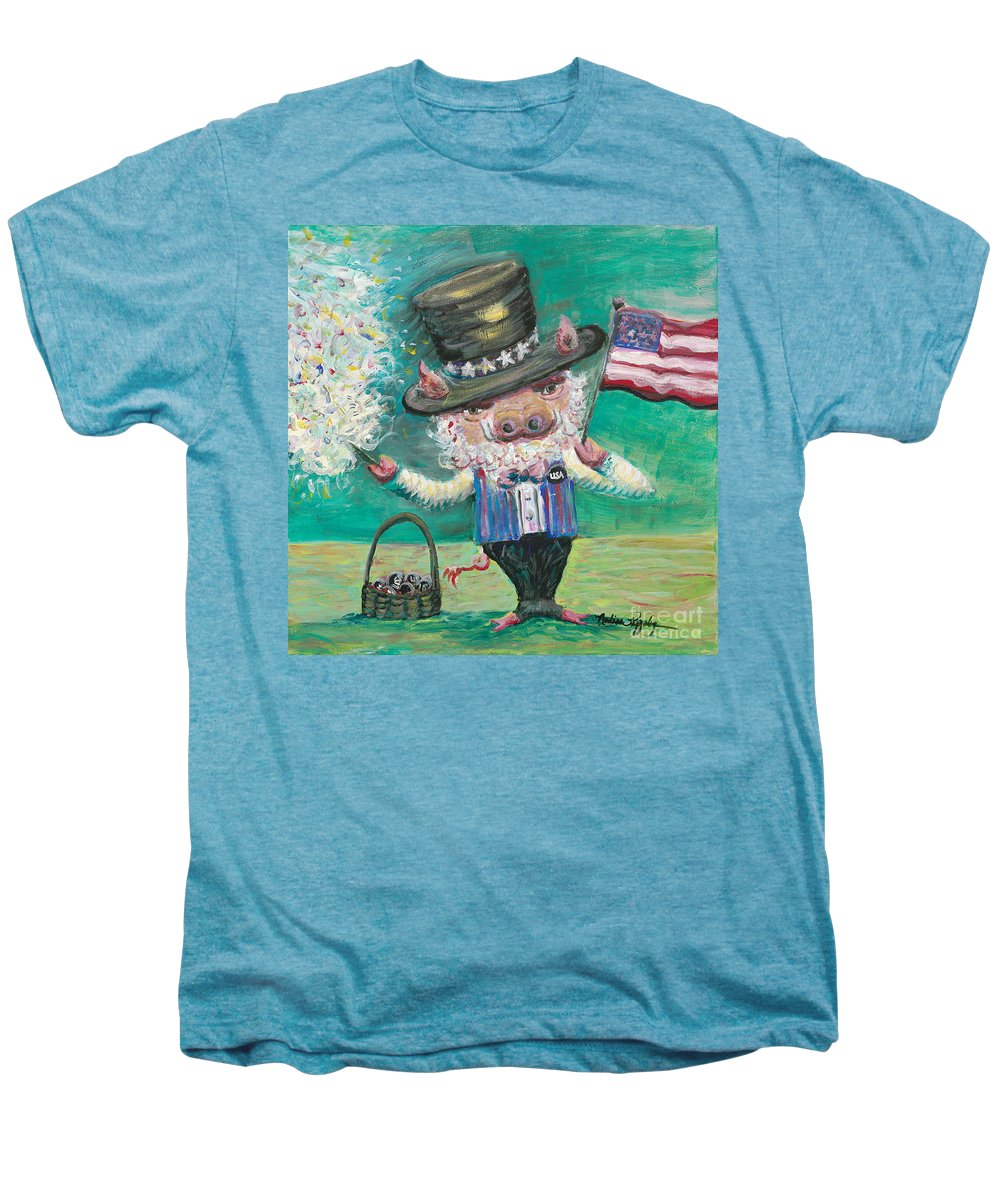 Fourth Of July Men's Premium T-Shirt featuring the painting Uncle Spam by Nadine Rippelmeyer