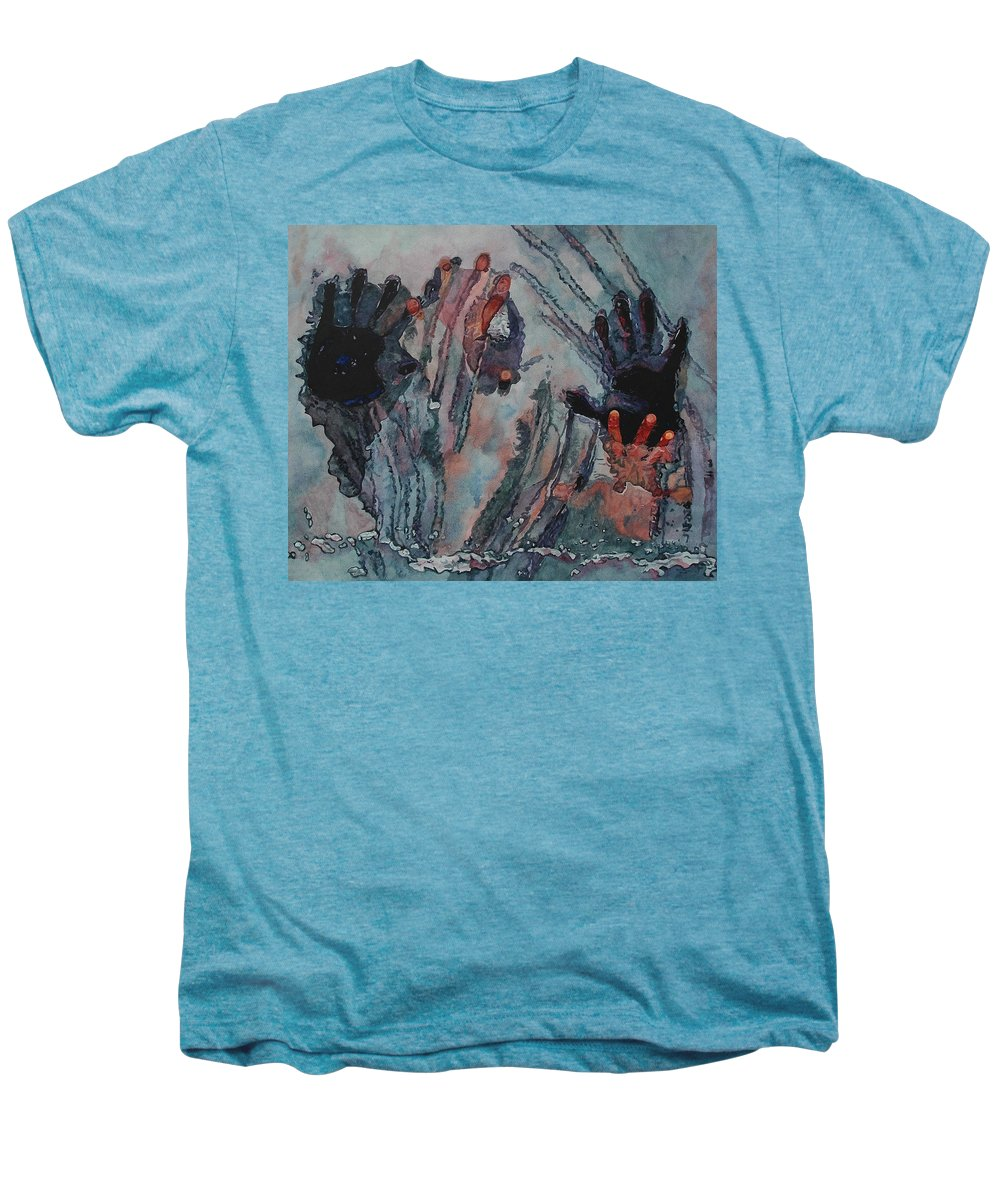 Underneath Men's Premium T-Shirt featuring the painting Under Ice by Valerie Patterson