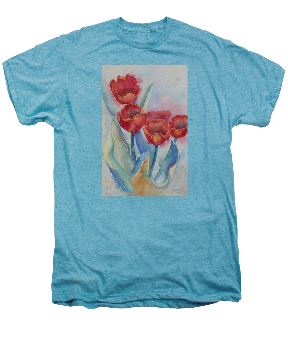 Flowers Men's Premium T-Shirt featuring the painting Undersea Tulips by Ruth Kamenev