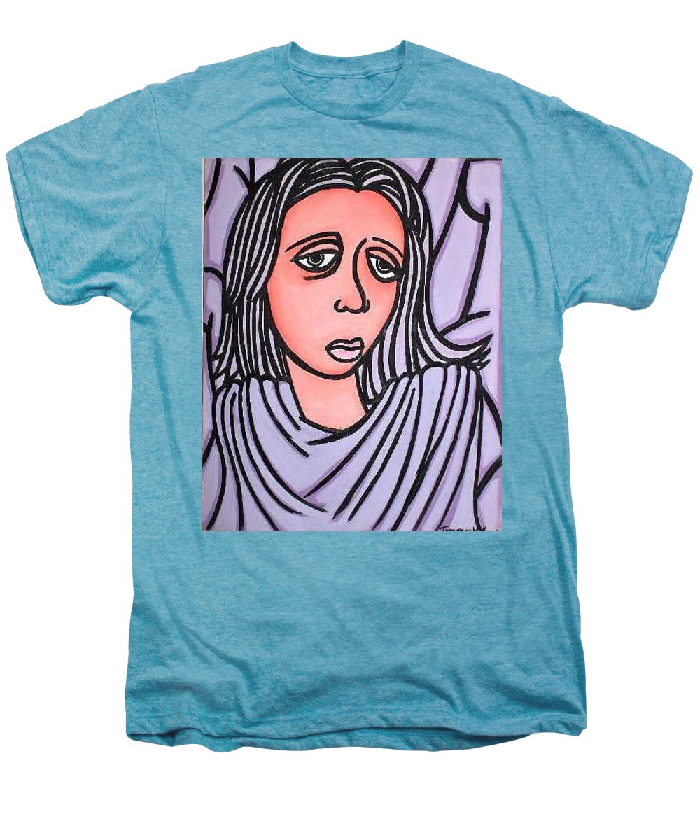 Portrait Men's Premium T-Shirt featuring the painting Unknown by Thomas Valentine
