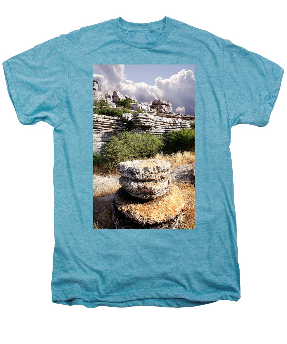 Limestone Men's Premium T-Shirt featuring the photograph Unusual Rock Formations In The El Torcal Mountains Near Antequera Spain by Mal Bray