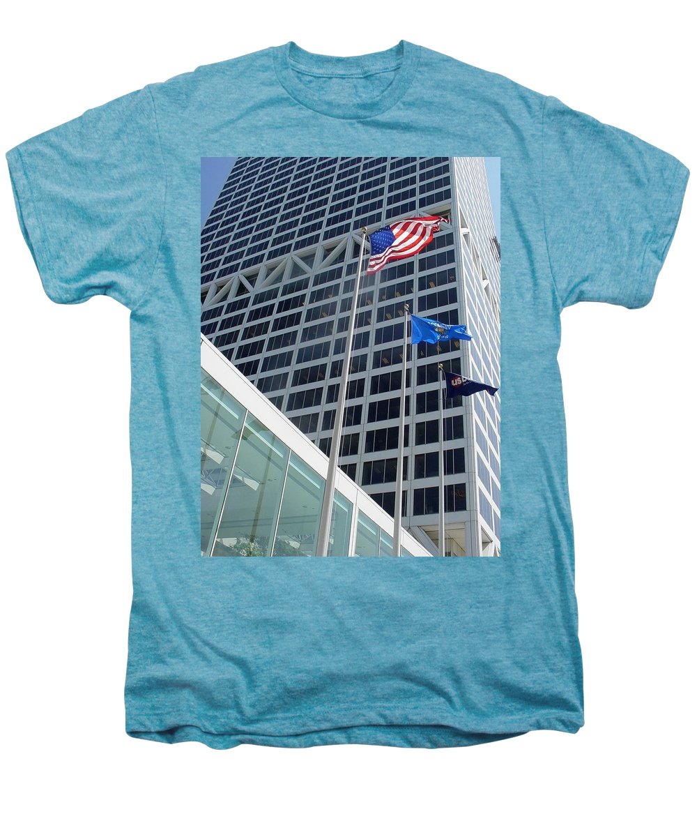 Us Bank Men's Premium T-Shirt featuring the photograph Us Bank With Flags by Anita Burgermeister