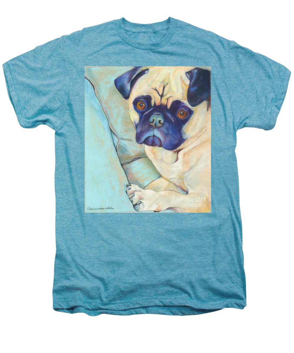 Pug Men's Premium T-Shirt featuring the pastel Valentino by Pat Saunders-White