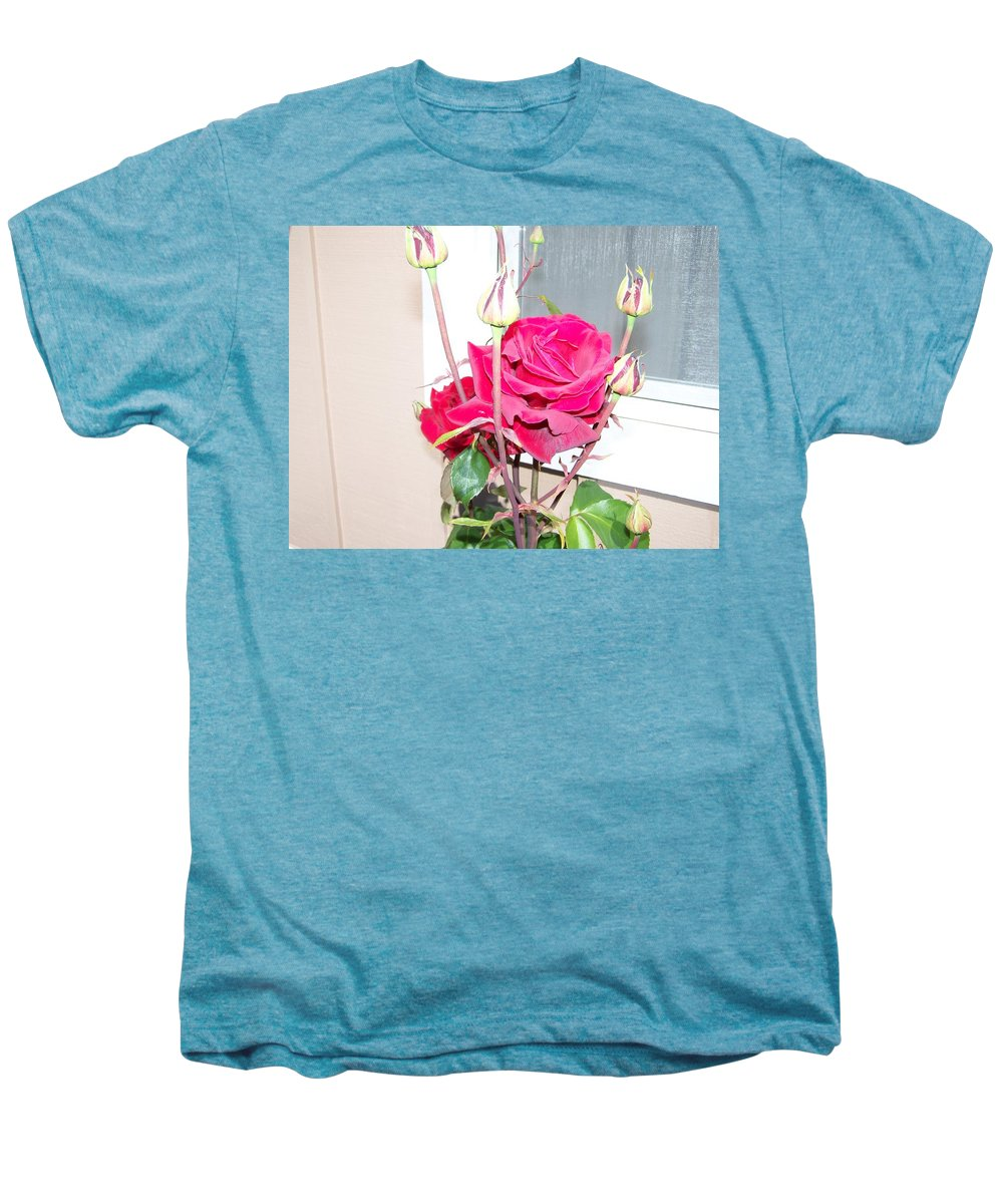 Digital Photography Artwork Men's Premium T-Shirt featuring the photograph Velvet Red Rose Of Sharon by Laurie Kidd