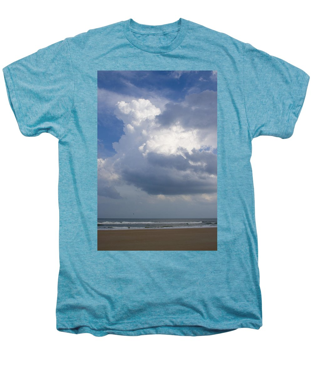 Ocean Nature Beach Sand Wave Water Sky Cloud White Bright Big Sun Sunny Vacation Relax Blue Men's Premium T-Shirt featuring the photograph Vessels In The Sky by Andrei Shliakhau