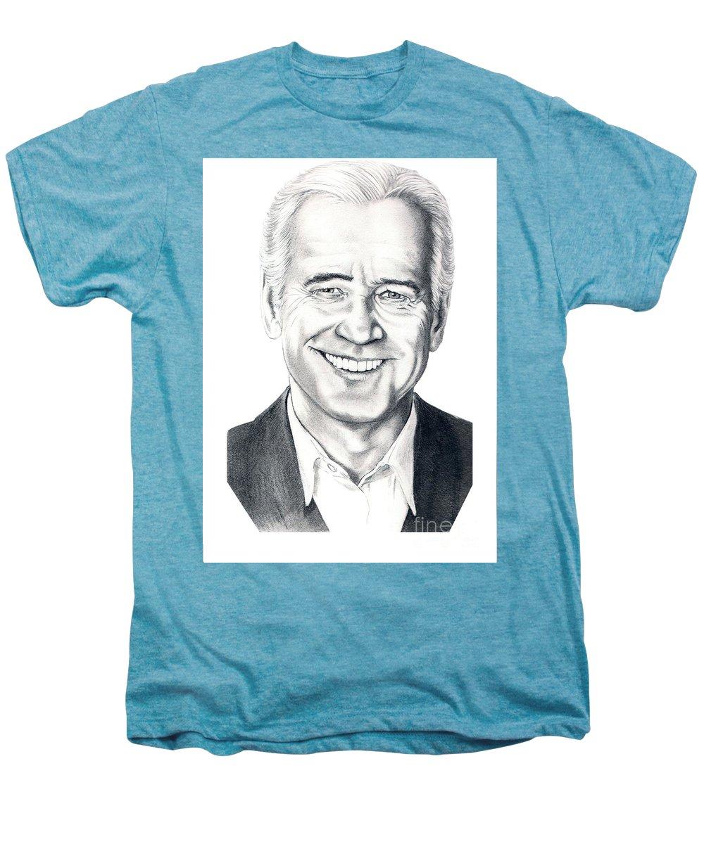 Vice President Men's Premium T-Shirt featuring the drawing Vice President Joe Biden by Murphy Elliott