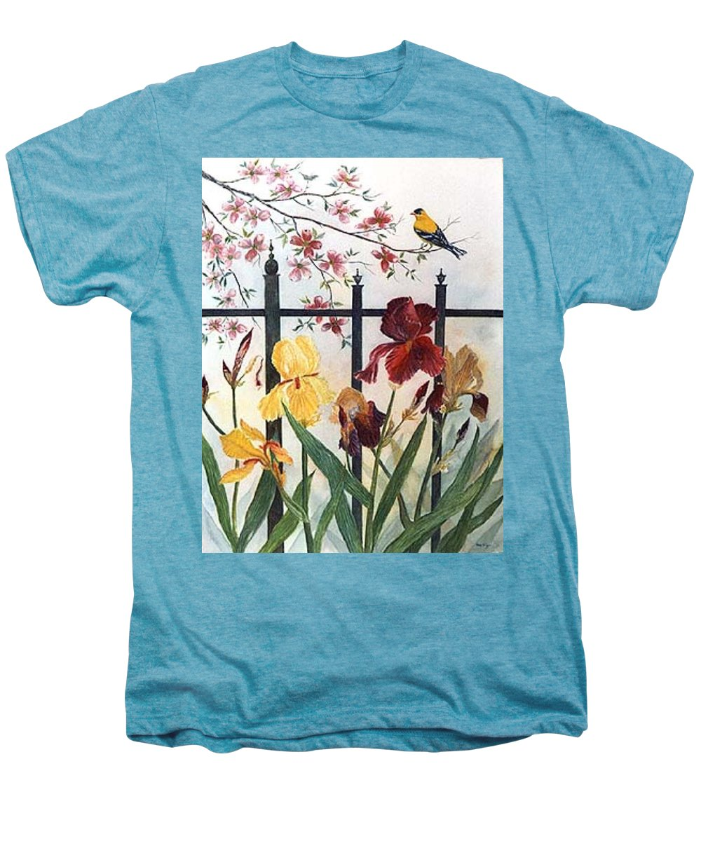 Irises; American Goldfinch; Dogwood Tree Men's Premium T-Shirt featuring the painting Victorian Garden by Ben Kiger
