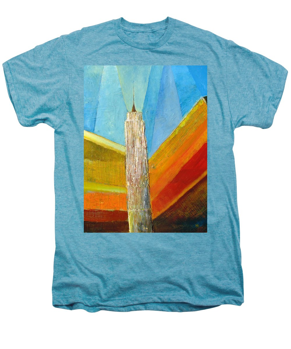 Abstract Cityscape Men's Premium T-Shirt featuring the painting View From 34th St by Habib Ayat