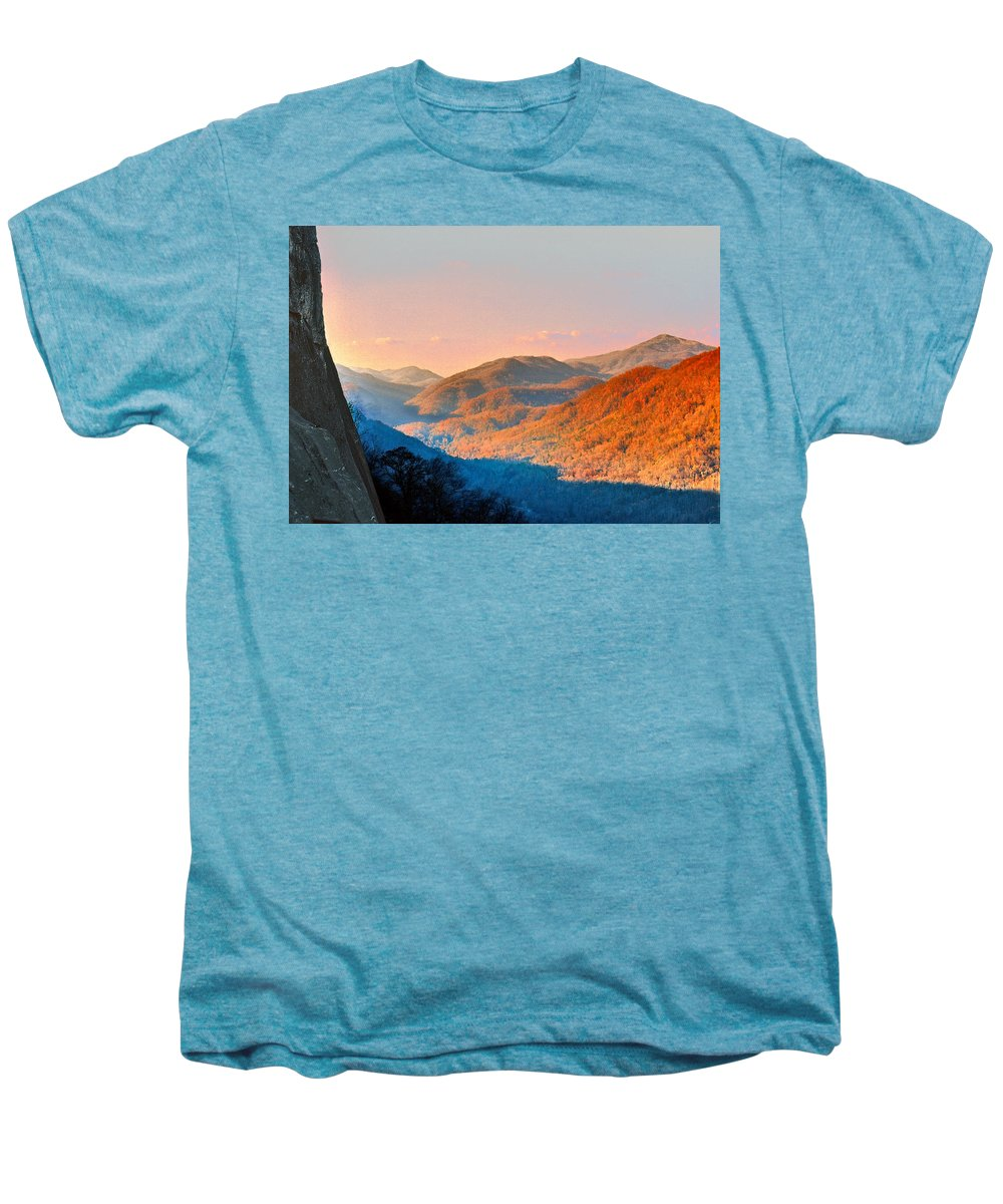 Landscape Men's Premium T-Shirt featuring the photograph View From Chimney Rock-north Carolina by Steve Karol