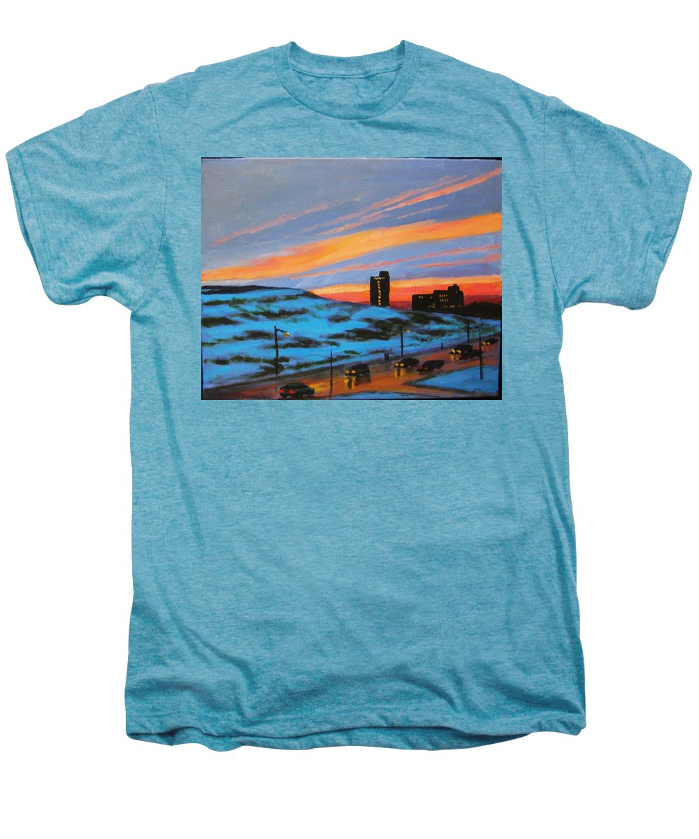 City At Night Men's Premium T-Shirt featuring the painting View From My Balcony by John Malone