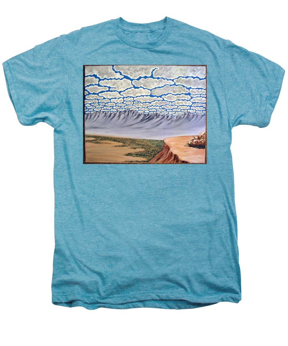Desertscape Men's Premium T-Shirt featuring the painting View From The Mesa by Marco Morales